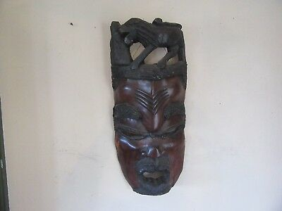 Vintage Large 12 Pound African Wood Hand Carved Mask With Lion Top  Lot 17-77-10