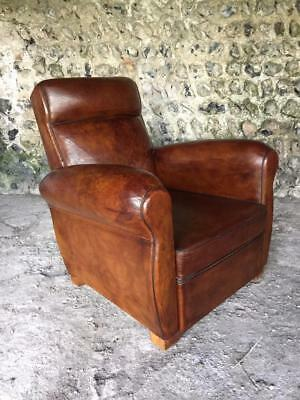 BEAUTIFUL ANTIQUE FRENCH LEATHER CLUB ARM CHAIR - VINTAGE C1940 superb condition