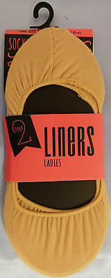 RJM Accessories One Size Footsies 2 Pair pack of Shoe Liners Natural shade
