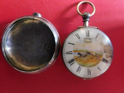 Antique Solid Silver Fusee Verge  Pair Case Cased Pocket Watch Painted Dial