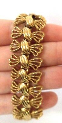 "Stunning Vintage Estate Signed Monet Gold Tone Flower 7 1/2"" Bracelet!!!!! 8585L"