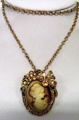 "Stunning Modern Estate Signed Ali Lang Rhinestone Cameo Ab 24"" Necklace!! 8586H"