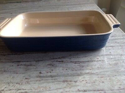 Lovely Oblong Blue Le Creuset France Baking Dish Pie dish Oven to tableware