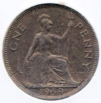 Great Britain 1939 Large One Penny Coin - United Kingdom England King George VI
