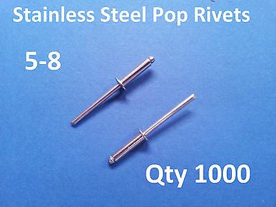 1000 POP RIVETS STAINLESS STEEL BLIND DOME 5-8 4mm x 16.5mm 5/32""