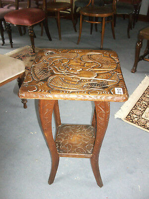 212 - Victorian Oak Two Tier Carved Occasional Side Table