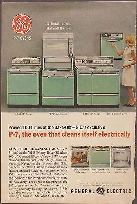 GE P-7 Oven General Electric Stove 1964 Cookbook Magazine Add