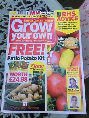 Grow Your Own Magazine February 2018 issue RRP £5.99 + 2 packets lucky dip seeds