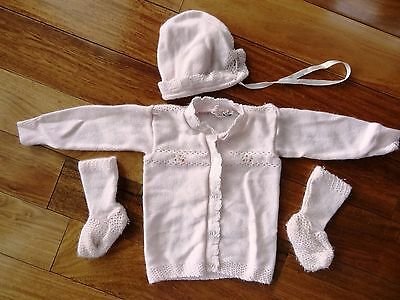 VINTAGE 1960s Baby HEIDI  Infant Size KNIT Pink SWEATER SET Bootie Socks & Hat