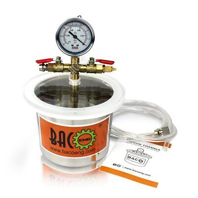 BACOENG Small Mini 3 Quart Stainless Steel Vacuum Chamber Silicone Kit for Degas