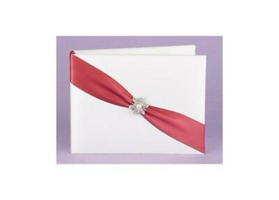 """Sparkling Beaded Sash Heart Shaped Wedding Guest Book w// Attached Pen Set 10/""""x9/"""""""