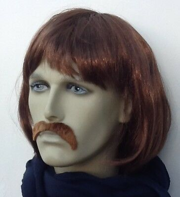 Men's Brown Bob Style 60's/70's Pop Band Fancy Dress Wig and Droop Moustache