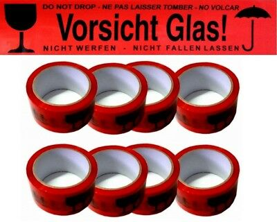 V48# Premium Packing Tape Red Attention Glass 66M x 48mm Adhesive