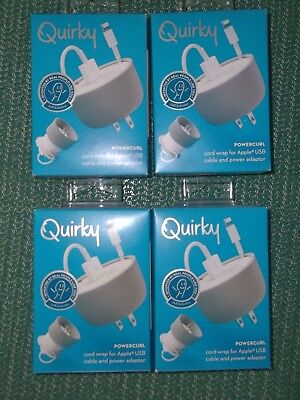 Quirky Powercurl cord wrap for Apple USB cable and power adapter (Bundle of 4)