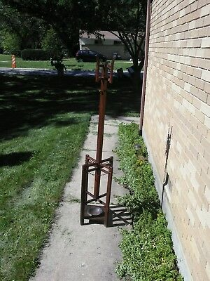 Vintage Mission Oak Arts & Crafts Wood Hat Coat Hall Tree Umbrella Stand