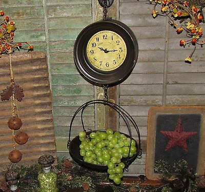 Primitive Antique Vtg Style General Store Hang Basket Tray Produce Scale Clock