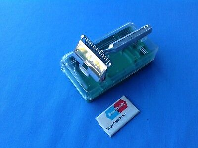 1912 PAT. EVER-READY SE SAFETY  RAZOR IN ACRYLIC CASE; made in England. SUPERB.
