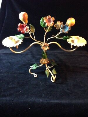 Vintage Italy Metal Candle Holder Centerpiece Hand Painted Fruits And Vines
