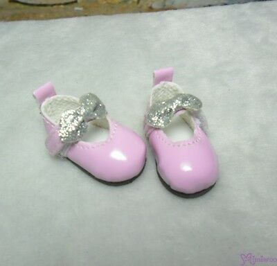 Monchhichi S Size MCC Plush Doll Glitter Butterfly Bow Mary Jane Shoes PINK