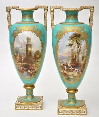 "Musuem Quality Pair of Huge 16.75"" Copeland Vases c1860's - Fountain at Carnelo"