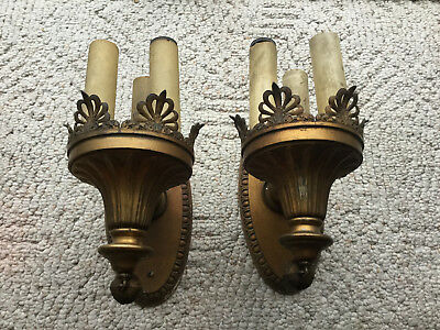 Pair ANTIQUE VINTAGE Brass Cast Metal  Wall Sconce TRIPLE Candlestick Lamp Light