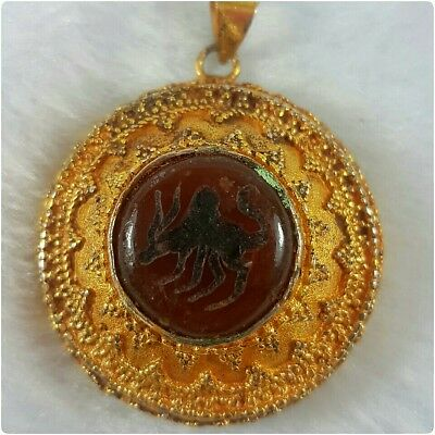 Beautiful gold gilding pendant with Agate intaglio stone