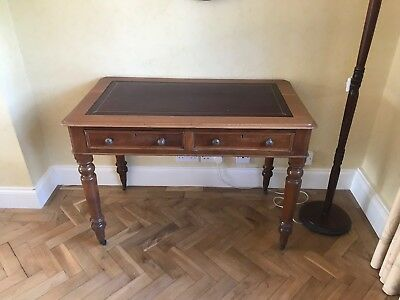 Lovely Antique Victorian Mahogany Writing Desk Side Hall Console Table 2 Drawers