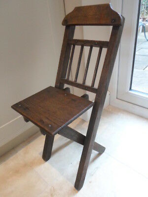 Vintage wooden folding child's chair with spindle back, doll teddy display