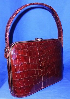 Fabulous 1940's Art Deco Brown Genuine Crocodile Grab Bag~Mint Condition