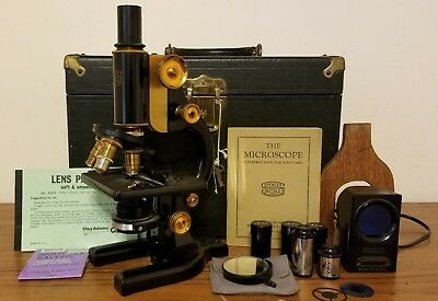 Antique 1926 Spencer Buffalo Microscope 3 Optics Manual Case Key Scopelite NICE