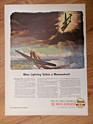 1944 Veedol Motor Oil Ad WW II P38 Lockheed Lightning Strikes a Messereschmitt