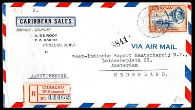 Curaçao: 1946 Reg. Airmail cover to Amsterdam from Willemstad