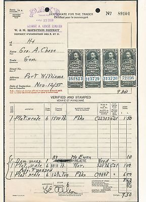 CANADA GV Weights & Measures Revenues To $5 on 1938 Document (Au12044)
