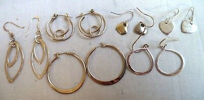 Stunning Vintage Estate Sterling Silver Pierced Earrings Lot!! 8589H