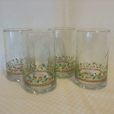 Arbys 1984 Christmas Collection Glasses Set of 4 Holly Gold Trim Swirl Design