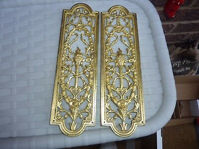 "2 ANTIQUE BRASS ORNATE FINGER DOOR PLATE 10 .3/4"" x 3"" (lot 1P)"