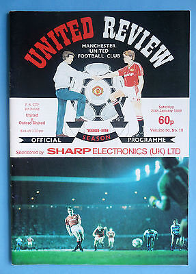 1988/1989 Manchester United v Oxford United - fa cup round 4 - 28/01/1989