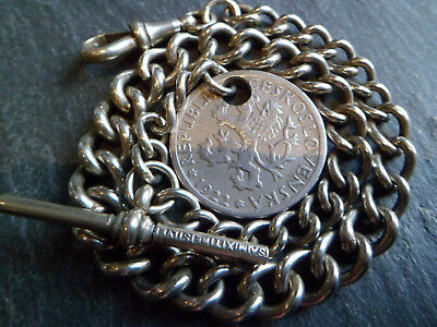 Antique Mixtine Silver Albert Pocket Watch Chain with a Czech Coin Fob 1922