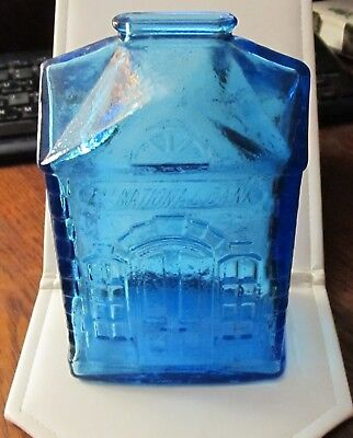 "Vintage Wheaton  6"" tall Blue glass ""1st National Bank"" coin bank-Wheaton, NJ."