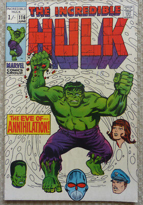 The Incredible Hulk #116, A Silver Age Marvel Classic, 1969 Vg/fn.