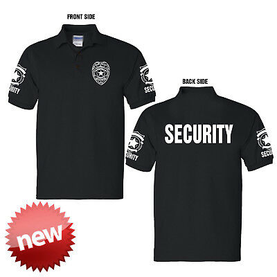 Security polo style collar shirt black short sleeves - new Size Large