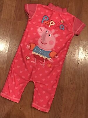 Cute Girls Pink Peppa Pig All In One Swimsuit Costume Age 18-24Mths Great Cond