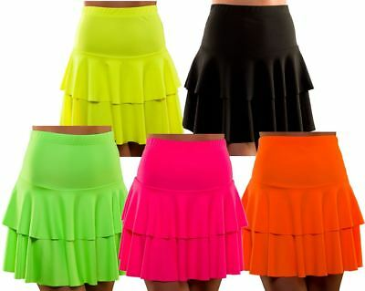 Ladies 80s 1980s NEON RA RA SKIRTS Fancy Dress Dance Hen Party Costume Rave RaRa