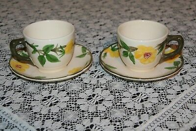 2 Sets of Franciscan Yellow Meadow Rose Cups and Saucers Excellent