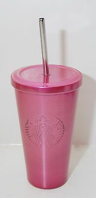 NEW Starbucks High Shine Pink Stainless Steel Tumbler Cold Cup 16 oz Spring 2016