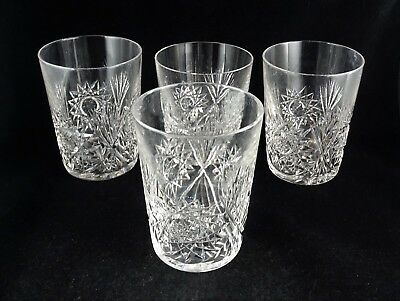 Four Cut Crystal Tumblers Hobstars and Fans - Unmarked