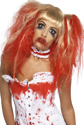 Blood Drip Adult Wig Blonde and Red with Bunches Horror Fancy Dress Accessory