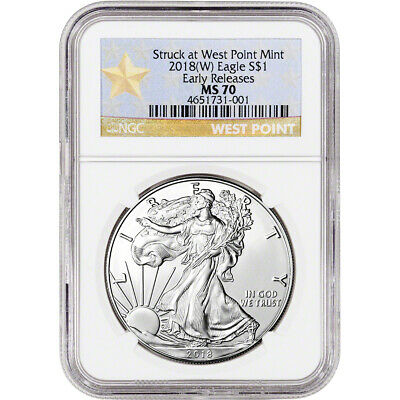 2018-(W) American Silver Eagle - NGC MS70 - Early Releases - Star Label