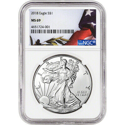 2018 American Silver Eagle - NGC MS69 - Flag Label