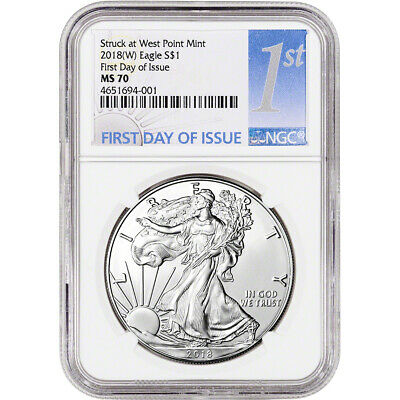 2018-(W) American Silver Eagle - NGC MS70 - First Day of Issue - 1st Label